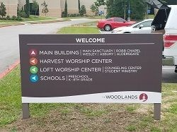 Metal Post and Panel Signage The Woodlands Church