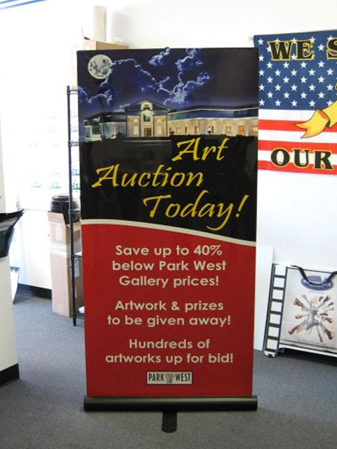 """34/"""" Retractable Banner Stand Trade Show Display Pop Up Wall Sign CUSTOM PRINT"""